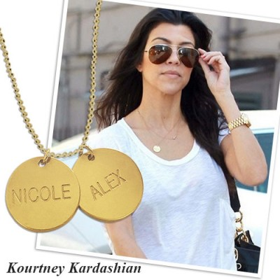 18ct Gold Plated Silver Disc Pendant Personalised Necklace - AMAZINGNECKLACE.COM