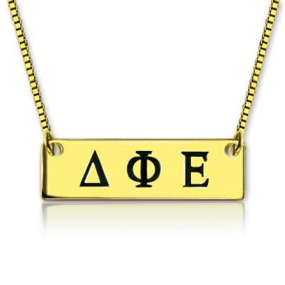 Personalised Greek Letter Sorority Bar Necklace 18ct Gold Plated - AMAZINGNECKLACE.COM