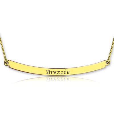 Personalised 18ct Gold Plated Curved Bar Necklace - AMAZINGNECKLACE.COM