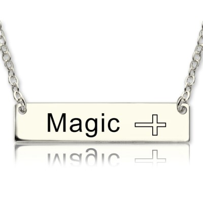 Nameplate Bar Personalised Necklace with Icons Sterling Silver - AMAZINGNECKLACE.COM