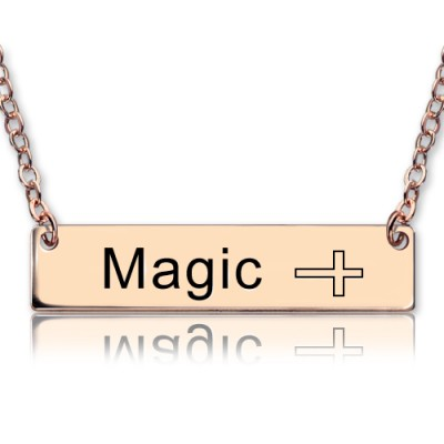 Engraved Name Bar Personalised Necklace with Icons 18ct Rose Gold Plated - AMAZINGNECKLACE.COM