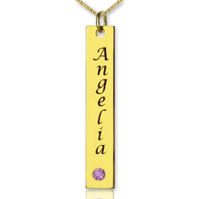 Personalised Name Tag Bar Necklace in 18ct Gold Plated - AMAZINGNECKLACE.COM