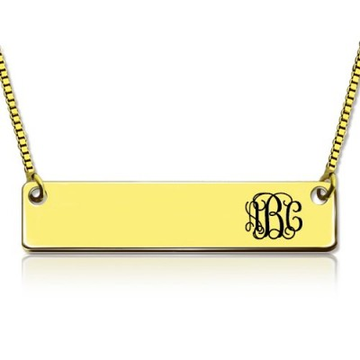 Personalised 18ct Gold Plated Initial Bar Necklace Monogram - AMAZINGNECKLACE.COM