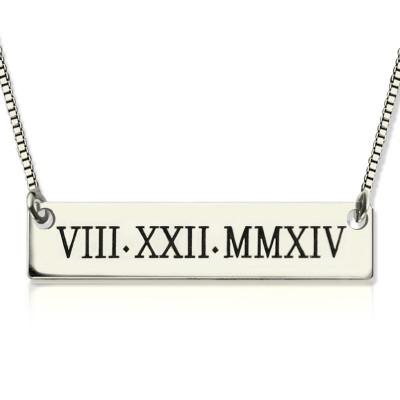 Custom Roman Numeral Bar Personalised Necklace Sterling Silver - AMAZINGNECKLACE.COM