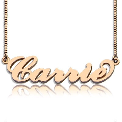 Carrie Name Personalised Necklace  Box Chain In 18ct Rose Gold Plated - AMAZINGNECKLACE.COM