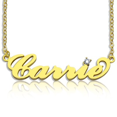Carrie Nameplate Personalised Necklace with Birthstone 18ct Gold Plated  - AMAZINGNECKLACE.COM