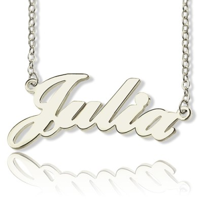 Solid 18ct White Gold Plated Julia Style Name Personalised Necklace - AMAZINGNECKLACE.COM