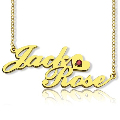 Gold Double Nameplate Personalised Necklace Carrie Style - AMAZINGNECKLACE.COM