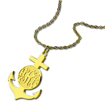 18ct Gold Plated Anchor Monogram Initial Personalised Necklace - AMAZINGNECKLACE.COM