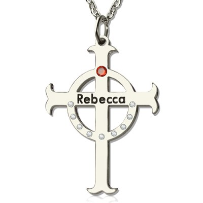Personalised Circle Cross Necklaces with Birthstone  Name Silver  - AMAZINGNECKLACE.COM