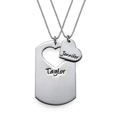 Couples Dog Tag Personalised Necklace With Cut Out Heart - AMAZINGNECKLACE.COM