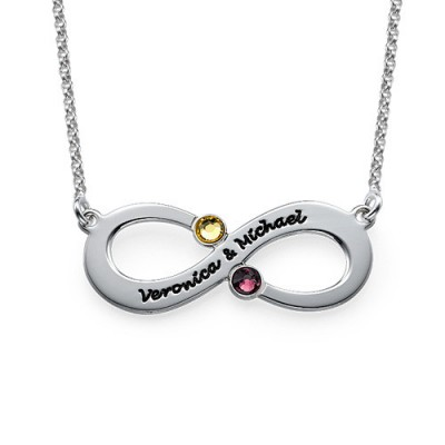 Couple's Infinity Personalised Necklace with Birthstones  - AMAZINGNECKLACE.COM