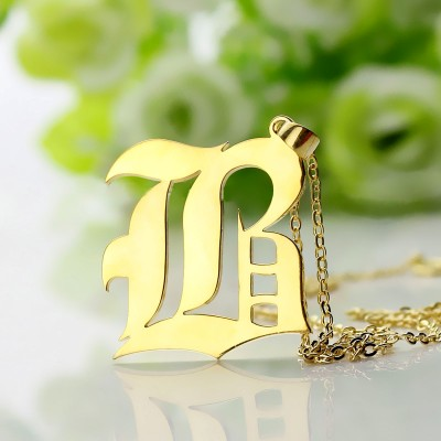 Custom Mens Initial Letter Charm Old English 18ct Gold Plated - AMAZINGNECKLACE.COM