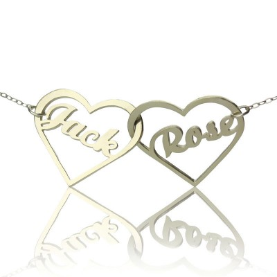 Double Heart Love Personalised Necklace With Names Sterling Silver - AMAZINGNECKLACE.COM