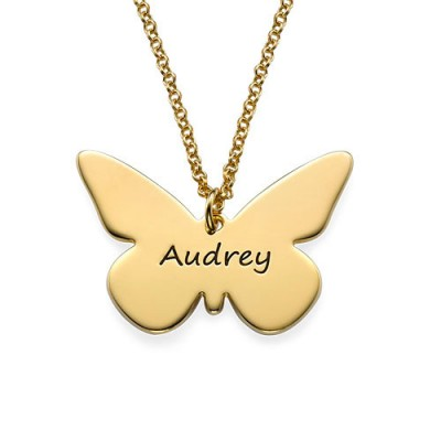 Engraved 18ct Gold Plated Pendant - Butterfly - AMAZINGNECKLACE.COM