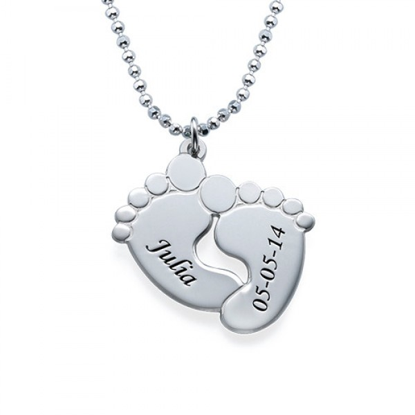 Engraved Baby Feet Personalised Necklace in Sterling Silver - AMAZINGNECKLACE.COM