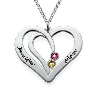 Engraved Couples Birthstone Personalised Necklace in Silver  - AMAZINGNECKLACE.COM