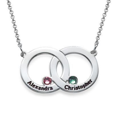 Engraved Interlocking Circle Personalised Necklace - AMAZINGNECKLACE.COM