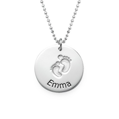 Engraved Silver Baby Steps Personalised Necklace - AMAZINGNECKLACE.COM
