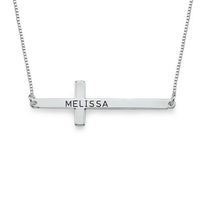 Engraved Silver Sideways Cross Personalised Necklace - AMAZINGNECKLACE.COM