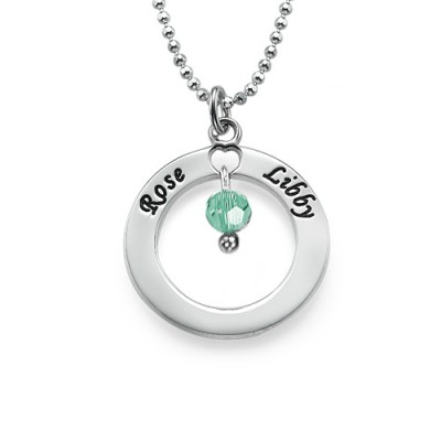 Engraved Classic Circle Personalised Necklace with Birthstones  - AMAZINGNECKLACE.COM