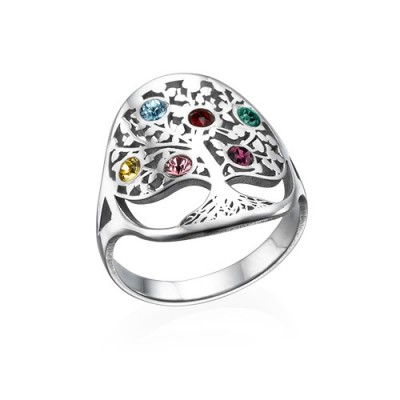 Family Tree Jewellery - Birthstone Personalised Ring  - AMAZINGNECKLACE.COM