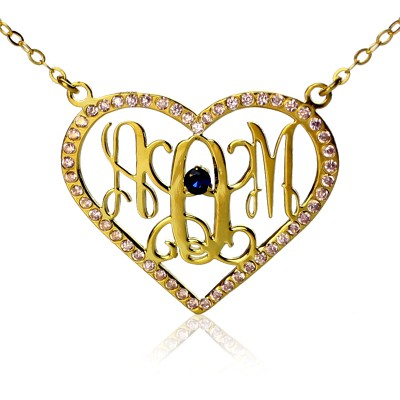 Birthstone Heart Monogram Personalised Necklace 18ct Gold Plated  - AMAZINGNECKLACE.COM