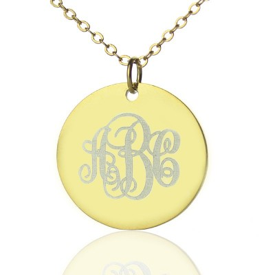 Disc Script Monogram Personalised Necklace 18ct Gold Plated - AMAZINGNECKLACE.COM