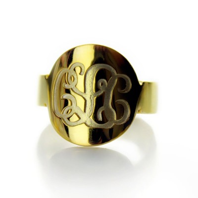 Engraved 18ct Gold Plated Script Monogram Itnitial Personalised Ring - AMAZINGNECKLACE.COM