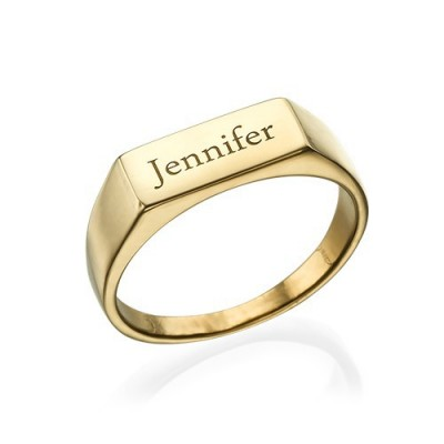Gold Plated Engraved Signet Personalised Ring - AMAZINGNECKLACE.COM