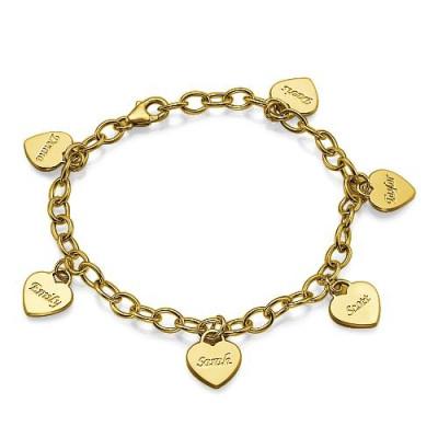18k Gold Plated Heart Charm Mothers Personalised Bracelet/Anklet - AMAZINGNECKLACE.COM