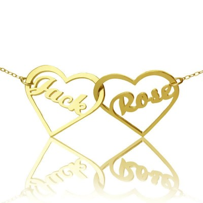 Double Heart Name Personalised Necklace 18ct Gold Plated - AMAZINGNECKLACE.COM