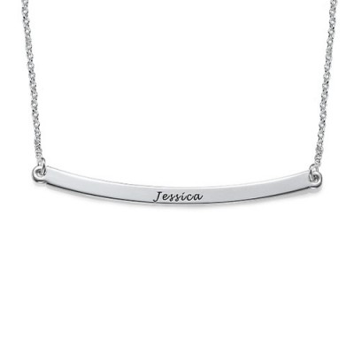 Horizontal Silver Bar Personalised Necklace - AMAZINGNECKLACE.COM