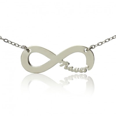 Sterling Silver Infinity Name Personalised Necklace - AMAZINGNECKLACE.COM