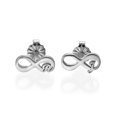 Infinity Stud Personalised Earrings with Initial - AMAZINGNECKLACE.COM