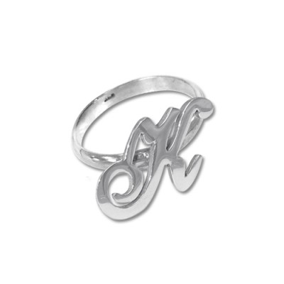 Initial Personalised Ring in Silver - AMAZINGNECKLACE.COM