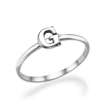 Initial Personalised Ring in Sterling Silver - AMAZINGNECKLACE.COM
