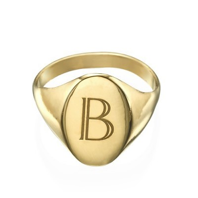 Initial Signet Personalised Ring - 18ct Gold Plated - AMAZINGNECKLACE.COM