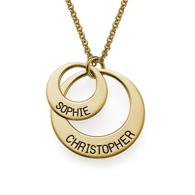 Jewellery for Mums - Disc Personalised Necklace in Gold Plating - AMAZINGNECKLACE.COM