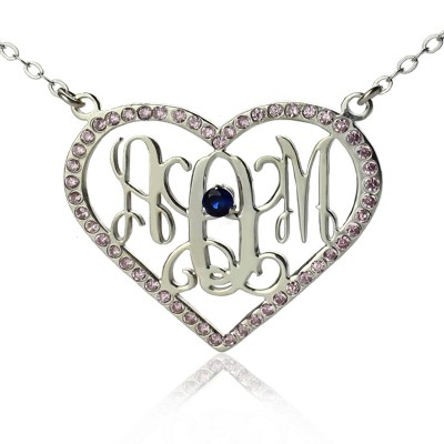 Sterling Silver Heart Birthstone Monogram Personalised Necklace  - AMAZINGNECKLACE.COM