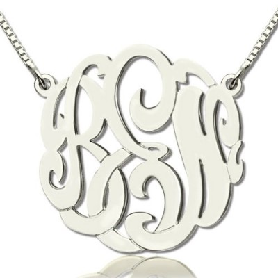 Custom Large Monogram Personalised Necklace Hand-painted Sterling Silver - AMAZINGNECKLACE.COM