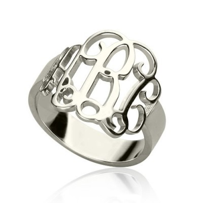 Personalised Sterling Silver Monogram Ring - AMAZINGNECKLACE.COM