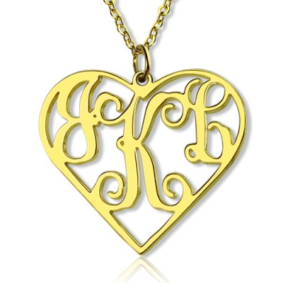 18ct Gold Plated Silver 925 Initial Monogram Personalised Heart Necklace-Single Hook - AMAZINGNECKLACE.COM
