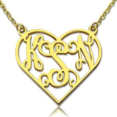 Cut Out Heart Monogram Personalised Necklace 18ct Gold Plated - AMAZINGNECKLACE.COM
