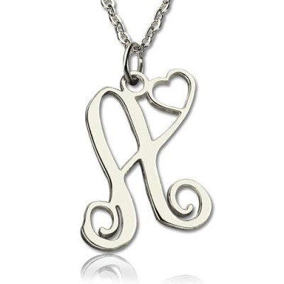 One Initial Monogram With Heart Personalised Necklace Silver - AMAZINGNECKLACE.COM