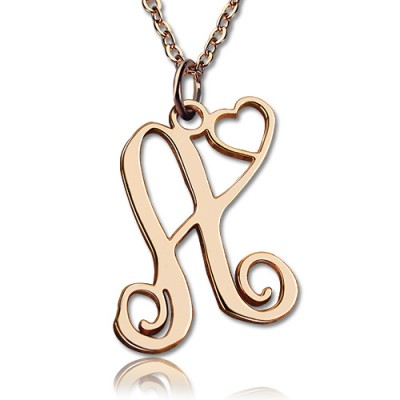 Personalised One Initial With Heart Monogram Necklace 18ct Rose Gold Plated - AMAZINGNECKLACE.COM