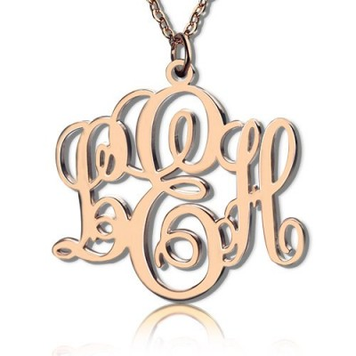Personalised Vine Font Initial Monogram Necklace 18ct Rose Gold Plated - AMAZINGNECKLACE.COM