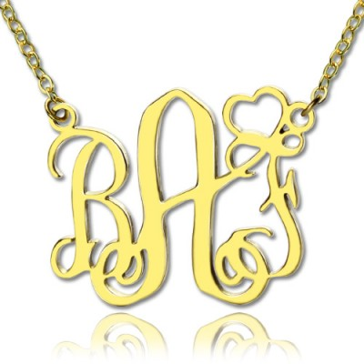 Personalised Initial Monogram Necklace With Heart 18ct Gold Plated - AMAZINGNECKLACE.COM