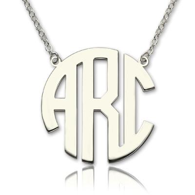 Solid White Gold 18ct Initial Block Monogram Pendant Personalised Necklace - AMAZINGNECKLACE.COM