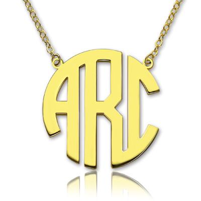 Solid Gold 18ct Initial Block Monogram Pendant Personalised Necklace - AMAZINGNECKLACE.COM